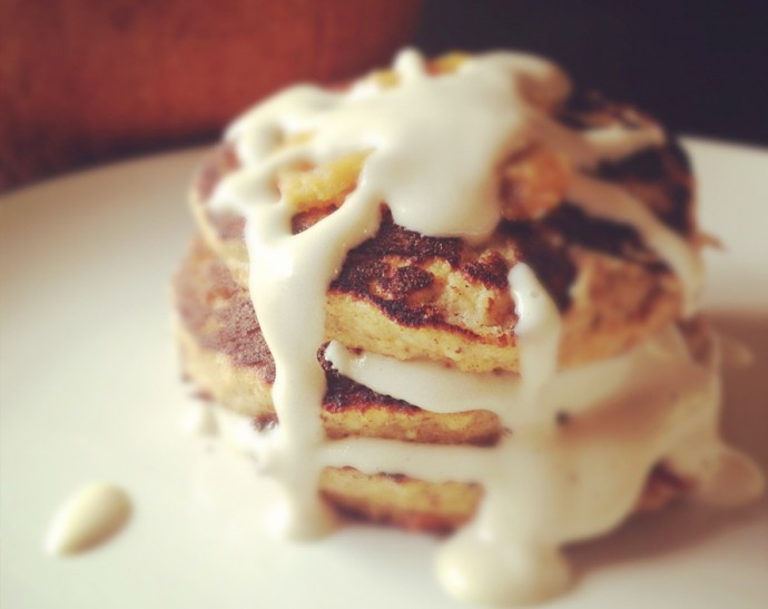 Pumpkin Pancakes with Pumpkin Butter and Vanilla Cream Sauce